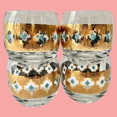 MCM Culver Glass Seville 22K-Gold Scrolls with Blue Diamonds Roly Poly Tumblers Set of Four