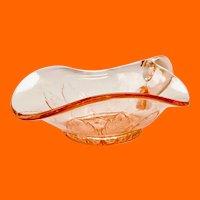 Dugan Diamond Glass Leaf Rays Pink Spade-Shaped One Handled Nappy