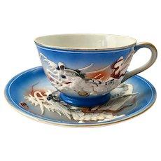 Blue Moriage Dragonware Geisha with Flower Lithophane Teacup and Saucer