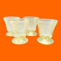 Florentine/Poppy No. 2 Yellow Depression Glass 3-1/4 inch 5-Ounce Footed Juice Tumblers Set of Four Hazel-Atlas