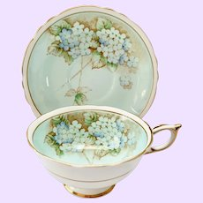 Paragon A705/1 Double Warrant Blue Hydrangea Bone China Teacup and Saucer