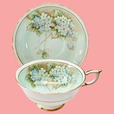 Paragon A705/1 Double Warrant Blue Hydrangea Bone China Teacup and Saucer