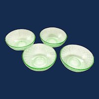 Checkerboard Green Depression Glass 4-Inch Dessert Bowls - Set of Four