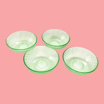 Checkerboard Green Depression Glass 4-Inch Dessert Bowls - Set of Four