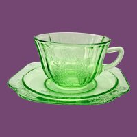 Parrot Sylvan Green Depression Glass Cup and Saucer by Federal