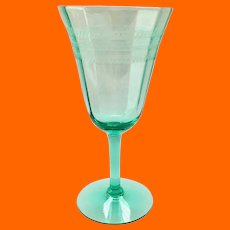 Tiffin Stem #14196 Green, Needle-Etched, Elegant Glass Water Goblet