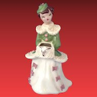 Yona of California Vase #48 Brunette Lady with Bird Hat