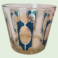 Mid-Century Glass Ice Bucket Cartouche Design Gold and Teal Hunting Horns