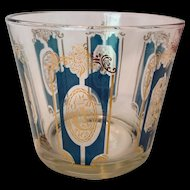 Mid Century Gold and Teal Hunting Horns Glass Ice Bucket Cartouche Design