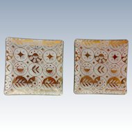 Two Georges Briard Glass Forbidden Fruit Border Square Coasters