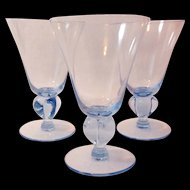 Seneca Ingrid Blue Footed Water Goblets Four Lobed Stem #520 Set of Three