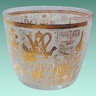 Hazel Atlas Colony Mid Century Glass Gold and White Ice Bucket