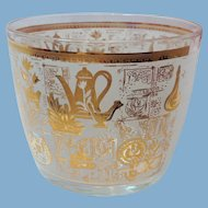 Hazel Atlas Mid Century Glass Colony Gold and White Ice Bucket