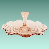 Anchor Hocking Pink Depression Glass Center Handled Ruffled Tidbit