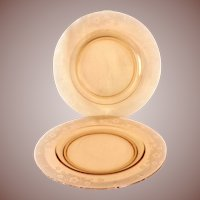 Fostoria Elegant Glass Vesper Depression Era Amber Dinner Plate