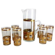 West Virginia Glass Gold Crackles and Circles Mid Century Martini Pitcher with Six Highball Tumblers