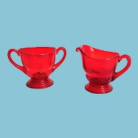 New Martinsville Depression Glass Moondrops Red Sugar and Creamer