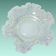 Fenton Glass French Opalescent Hobnail 6-inch Double Crimped Nappy