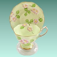 Royal Albert Bone China Evangeline Mint Green with Pink Apple Blossoms Teacup and Saucer