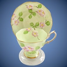 Royal Albert Evangeline Mint Green with Pink Apple Blossoms Bone China Teacup and Saucer