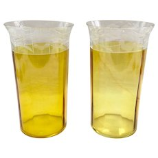 Pair Westmoreland Design 229 Marigold Yellow and Crystal Cut Iced Tea Tumblers