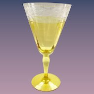 Westmoreland Glass Design 229 Trellis Flower Marigold Yellow and Crystal Cut Water Goblet