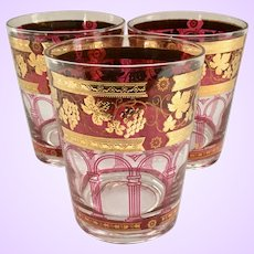 Cera Glass Golden Grapes Burgundy 22K Mid-Century Double Old Fashioned Tumblers Set of Three