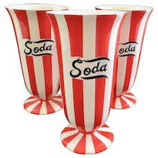 Country Club By Yona for Shafford Red and White Striped Soda Tumblers Set of Three