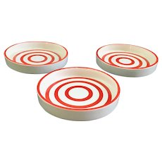Country Club By Yona for Shafford Red and White Striped Coasters Set of Three