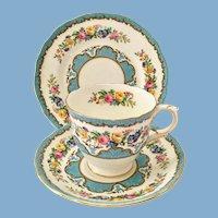 Lyric Tunis Blue Bone China Teacup, Saucer, Dessert Plate Three Piece Set Crown Staffordshire England