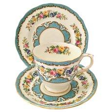 Crown Staffordshire England Lyric Tunis Blue Bone China Teacup, Saucer, Dessert Plate Three Piece Set