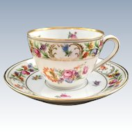 Schumann Bavaria Dresden Flowers Teacup and Saucer Early 1900s