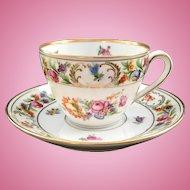 Schumann Bavaria Dresden Flowers Teacup and Saucer Early 1900s