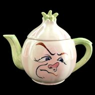 Anthropomorphic Frowning Onion Ceramic Teapot Japan
