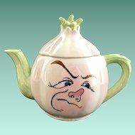 Anthropomorphic Frowning Onion Ceramic Teapot Japan