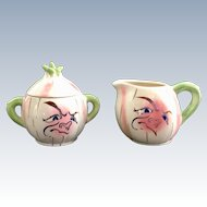 Anthropomorphic Frowning Onion Cream and Sugar set Japan