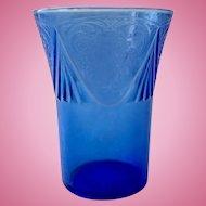 Royal Lace Cobalt Blue 9-Ounce Depression Glass Tumbler by Hazel Atlas