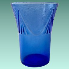 Royal Lace Cobalt Blue 9-Ounce Depression Glass Tumbler by Hazel Atlas