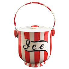 Country Club by Yona for Shafford Red and White Striped Ice Bucket