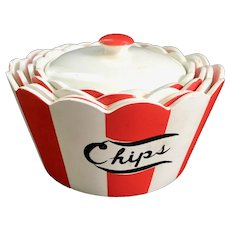 Country Club By Yona for Shafford Red and White 5-Piece Chip and Dip Set
