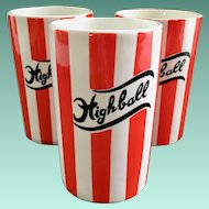 Country Club By Yona for Shafford Red and White Striped Highball Tumblers Set of Three