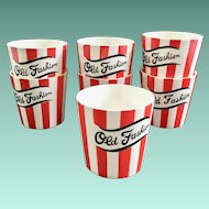 Country Club By Yona for Shafford Red and White Striped Old Fashion Tumblers Set of Seven