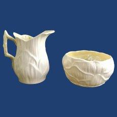 Belleek Irish Porcelain Lily Creamer and Open Sugar