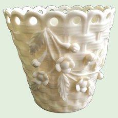 Belleek Irish Porcelain BasketWeave Flower Pot Planter with Applied Flowers