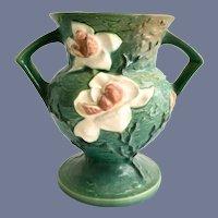 Roseville Green Magnolia 181 Two Handled Vase