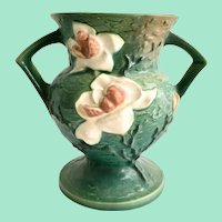 Roseville Green Magnolia 181 Two Handled Vase