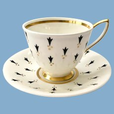 Royal Albert Ermine Black and Gold Bone China Teacup and Saucer