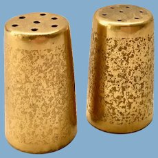 Stouffer Studios Gold Encrusted Pair of Individual Salt and Pepper Shakers - Early 1900s
