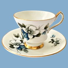 Royal Eton Staffordshire England X22K9/893 Blue and White Flower Bone China Teacup and Saucer