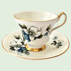 Royal Eton Staffordshire England X22K9/893 Blue and White Flower Bone China Teacup and Saucer